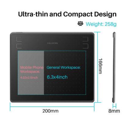 HS64 grafična tablica je tanka in kompaktna