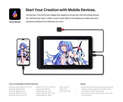 Kamvas 13 Pen Display - create with mobile device